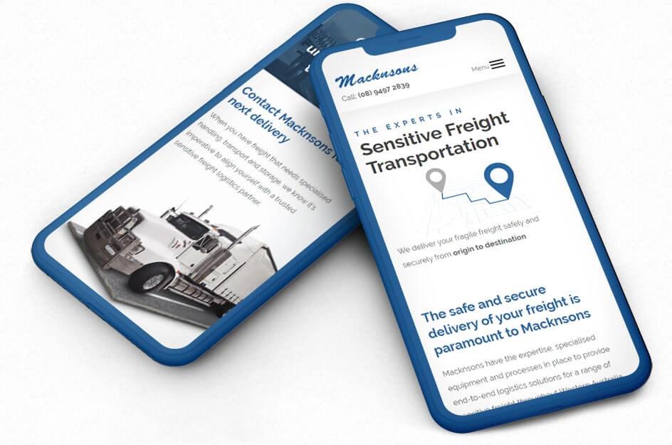 Mockup of mobile version of website